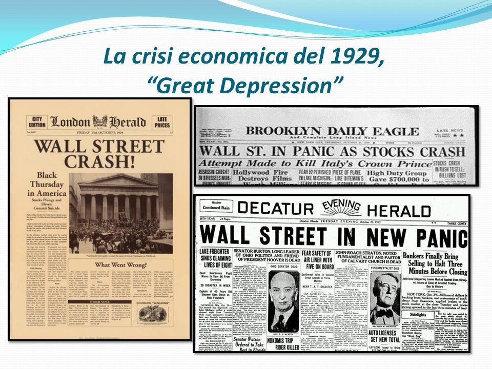 """La crisi economica del 1929, """"Great Depression"""""""