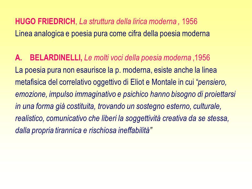 HUGO FRIEDRICH, La struttura della lirica moderna, 1956 Linea analogica e poesia pura come cifra della poesia moderna A.BELARDINELLI, Le molti voci della poesia moderna,1956 La poesia pura non esaurisce la p.