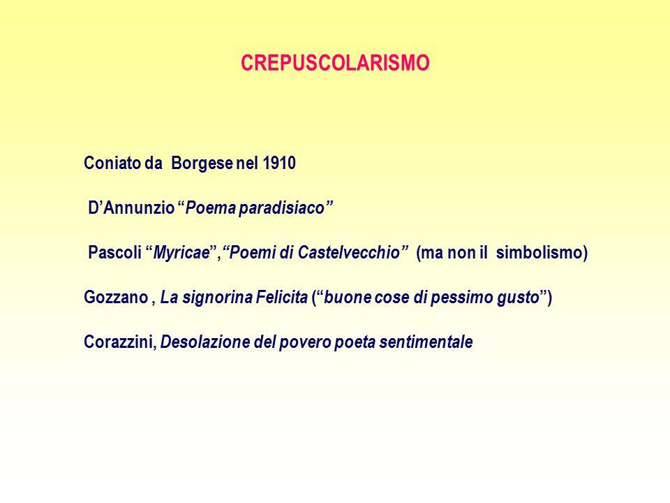 """CREPUSCOLARISMO Coniato da Borgese nel 1910 D'Annunzio """" Poema paradisiaco"""" Pascoli """" Myricae """", """"Poemi di Castelvecchio"""" (ma non il simbolismo) Gozza"""