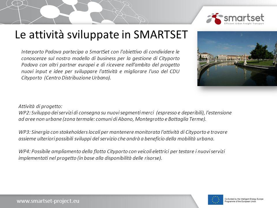 www.smartset-project.eu Le attività sviluppate in SMARTSET Attività di progetto: WP2: Sviluppo dei servizi di consegna su nuovi segmenti merci (espres