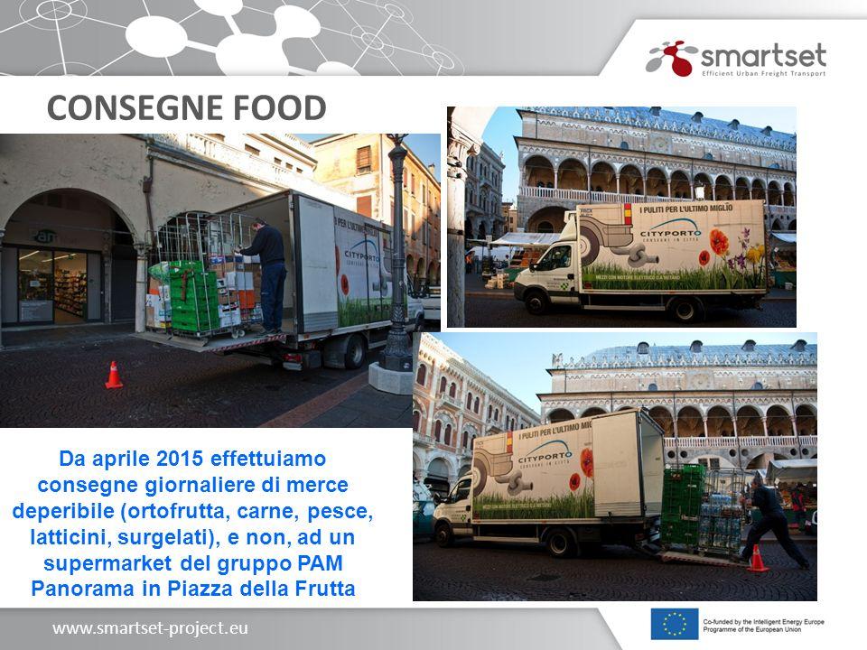 www.smartset-project.eu CONSEGNE FOOD Da aprile 2015 effettuiamo consegne giornaliere di merce deperibile (ortofrutta, carne, pesce, latticini, surgelati), e non, ad un supermarket del gruppo PAM Panorama in Piazza della Frutta