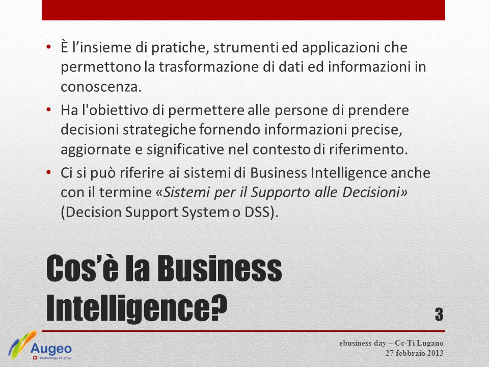 Cos'è la Business Intelligence.