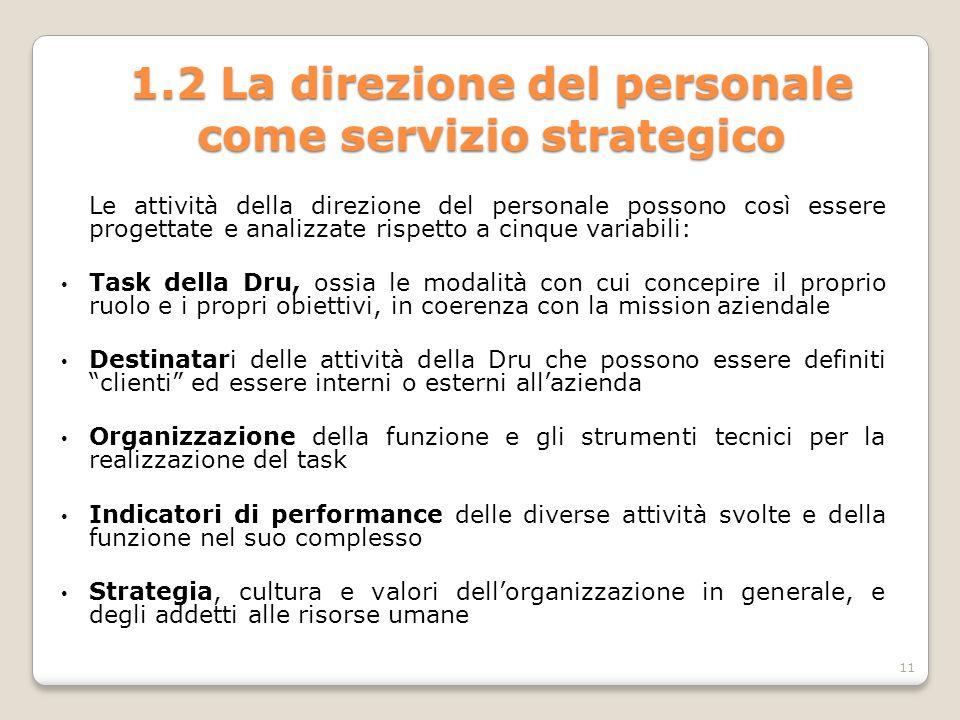1.2 La direzione del personale come servizio strategico Le attività della direzione del personale possono così essere progettate e analizzate rispetto