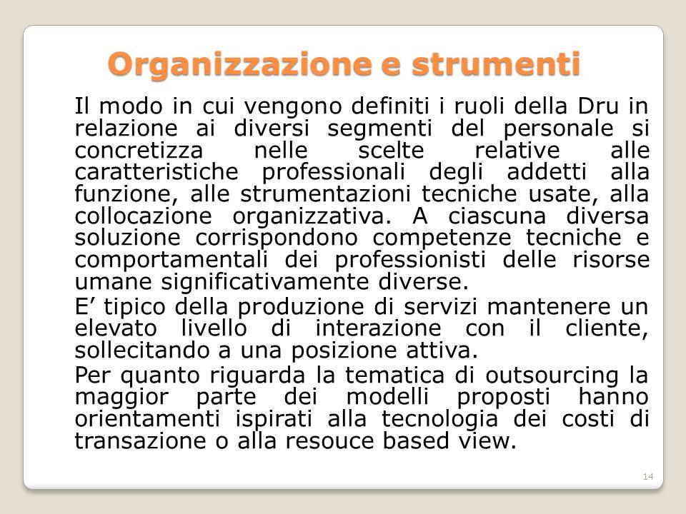 Organizzazione e strumenti Il modo in cui vengono definiti i ruoli della Dru in relazione ai diversi segmenti del personale si concretizza nelle scelt