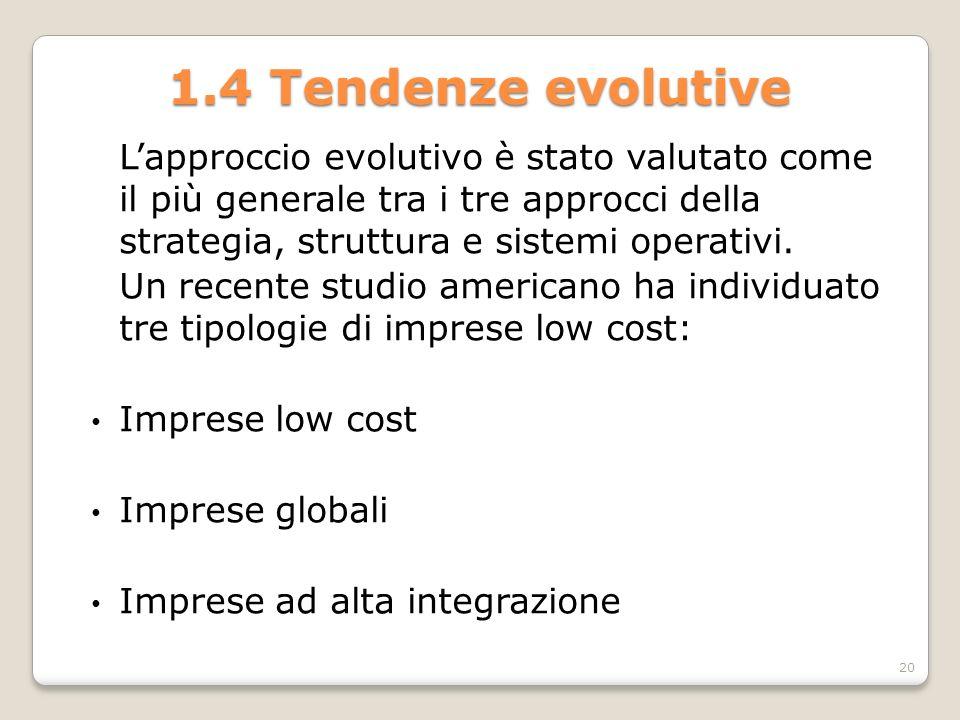 1.4 Tendenze evolutive L'approccio evolutivo è stato valutato come il più generale tra i tre approcci della strategia, struttura e sistemi operativi.