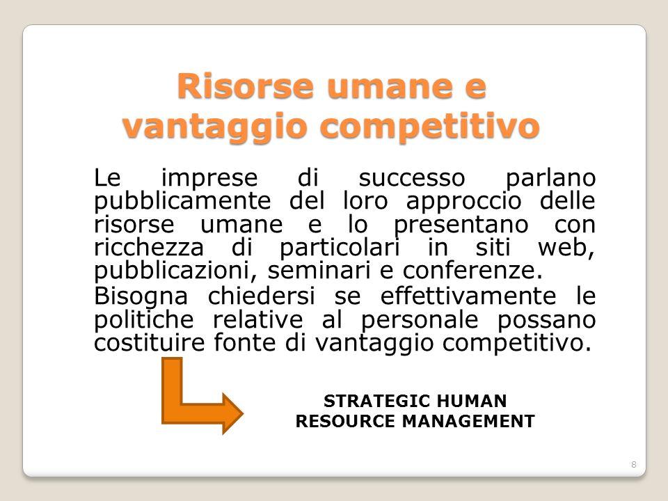 Risorse umane e vantaggio competitivo Le imprese di successo parlano pubblicamente del loro approccio delle risorse umane e lo presentano con ricchezz