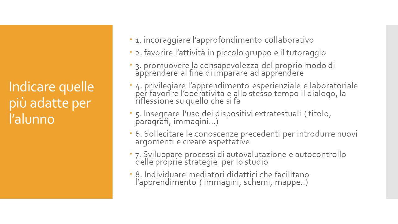 Indicare quelle più adatte per l'alunno  1.incoraggiare l'approfondimento collaborativo  2.