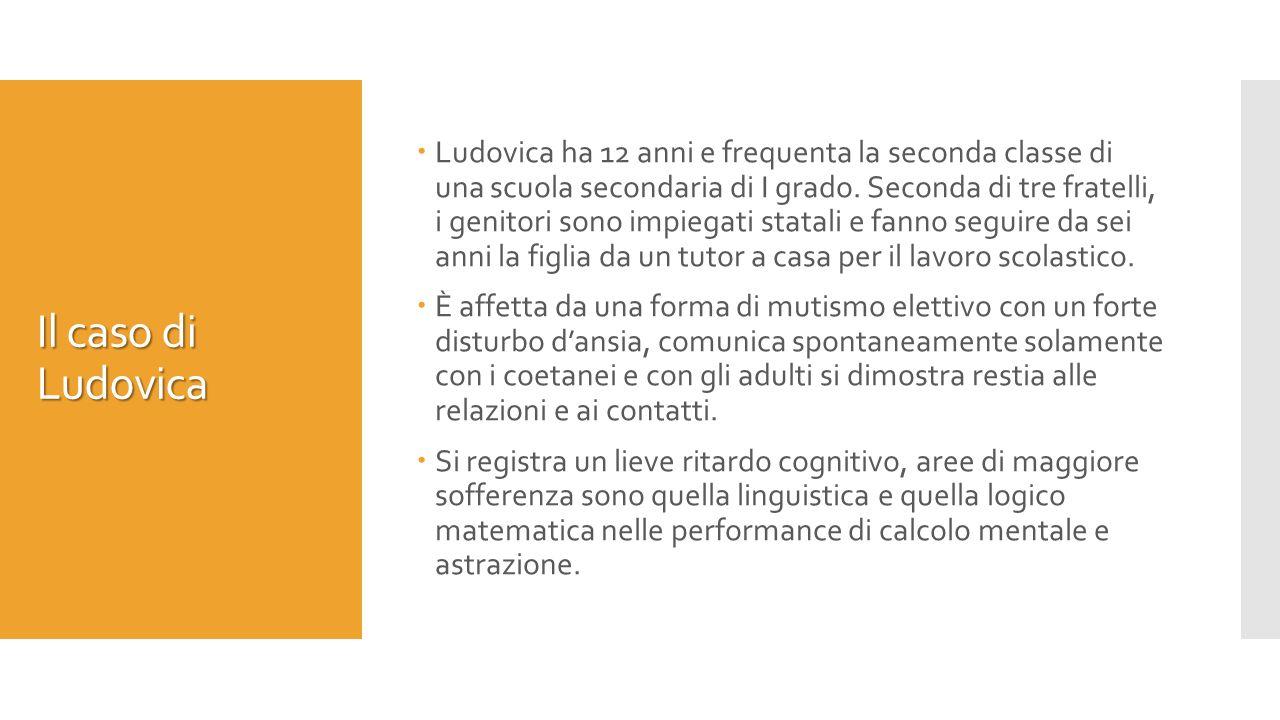 Il caso di Ludovica  Ludovica ha 12 anni e frequenta la seconda classe di una scuola secondaria di I grado.