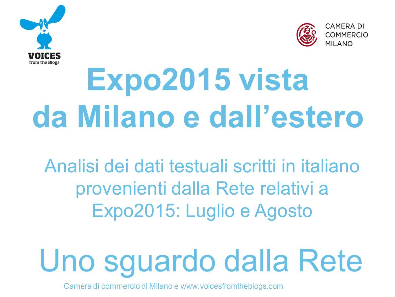 Camera di commercio di Milano e www.voicesfromtheblogs.com Expo2015 vista da Milano e dall'estero Uno sguardo dalla Rete Analisi dei dati testuali scritti in italiano provenienti dalla Rete relativi a Expo2015: Luglio e Agosto