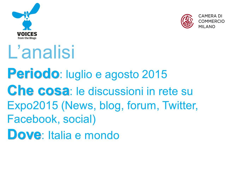L'analisi Periodo Periodo : luglio e agosto 2015 Che cosa Che cosa : le discussioni in rete su Expo2015 (News, blog, forum, Twitter, Facebook, social) Dove Dove : Italia e mondo