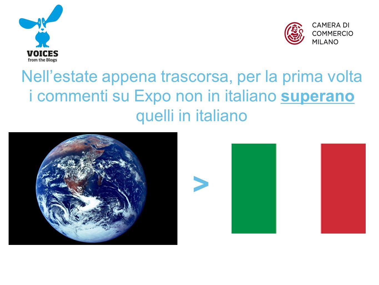 Nell'estate appena trascorsa, per la prima volta i commenti su Expo non in italiano superano quelli in italiano >
