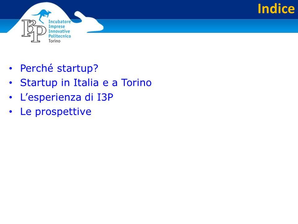 Indice Perché startup? Startup in Italia e a Torino L'esperienza di I3P Le prospettive