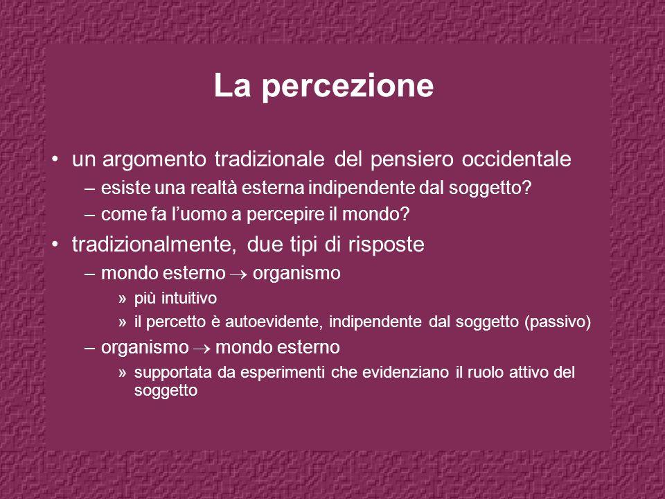 La percezione un argomento tradizionale del pensiero occidentale –esiste una realtà esterna indipendente dal soggetto.