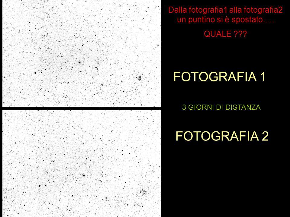 FOTOGRAFIA 1 FOTOGRAFIA 2 3 GIORNI DI DISTANZA Dalla fotografia1 alla fotografia2 un puntino si è spostato.....