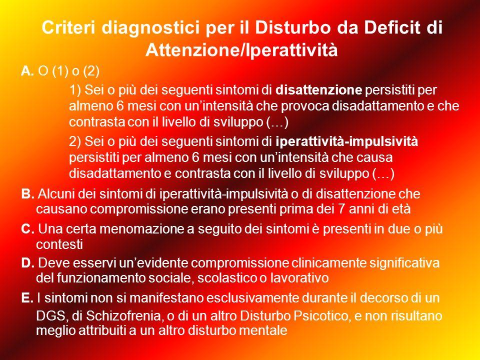 Criteri diagnostici per il Disturbo da Deficit di Attenzione/Iperattività A.