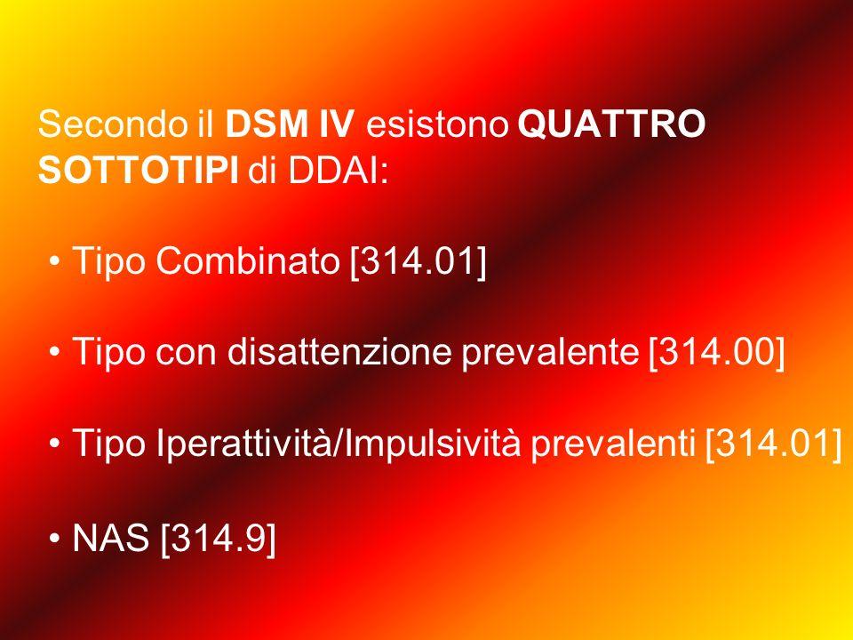 Secondo il DSM IV esistono QUATTRO SOTTOTIPI di DDAI: Tipo Combinato [314.01] Tipo con disattenzione prevalente [314.00] Tipo Iperattività/Impulsività prevalenti [314.01] NAS [314.9]