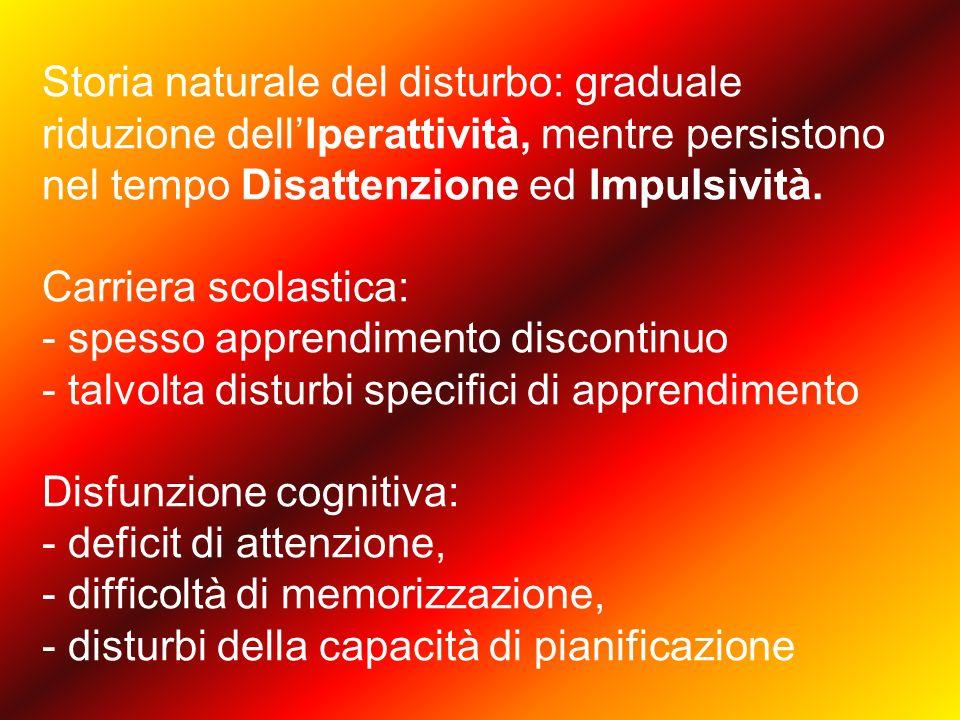 Storia naturale del disturbo: graduale riduzione dell'Iperattività, mentre persistono nel tempo Disattenzione ed Impulsività.