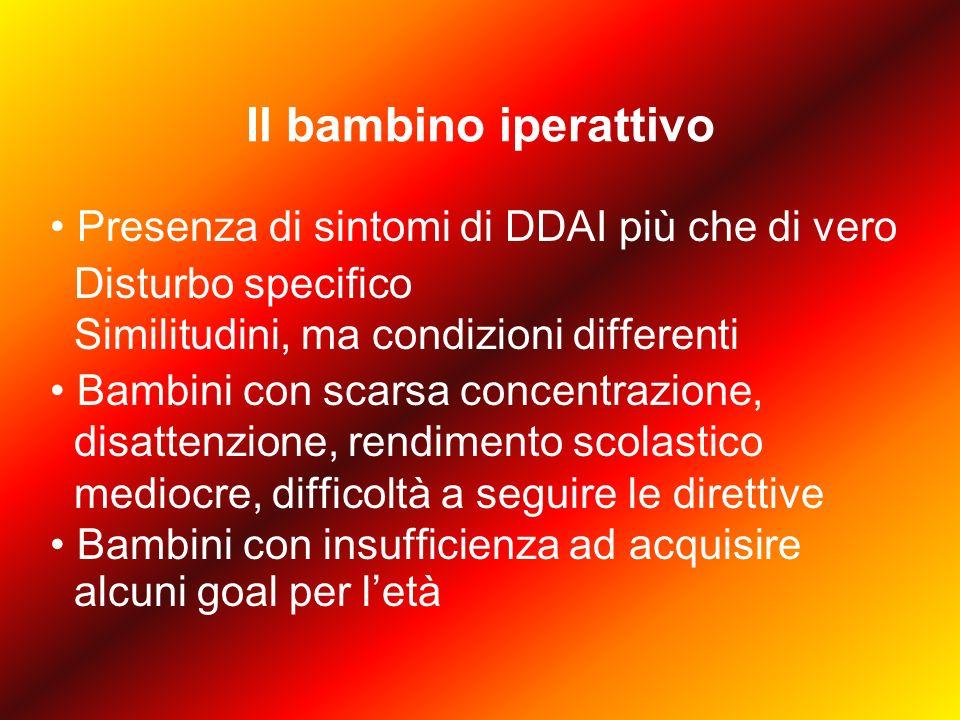 DDAI Secondo i criteri del DSM IV (APA, 1994), il Disturbo da deficit attentivo con iperattività è caratterizzato da due gruppi di sintomi ( dimensioni psicopatologiche ) definibili come inattenzione e impulsività/iperattività