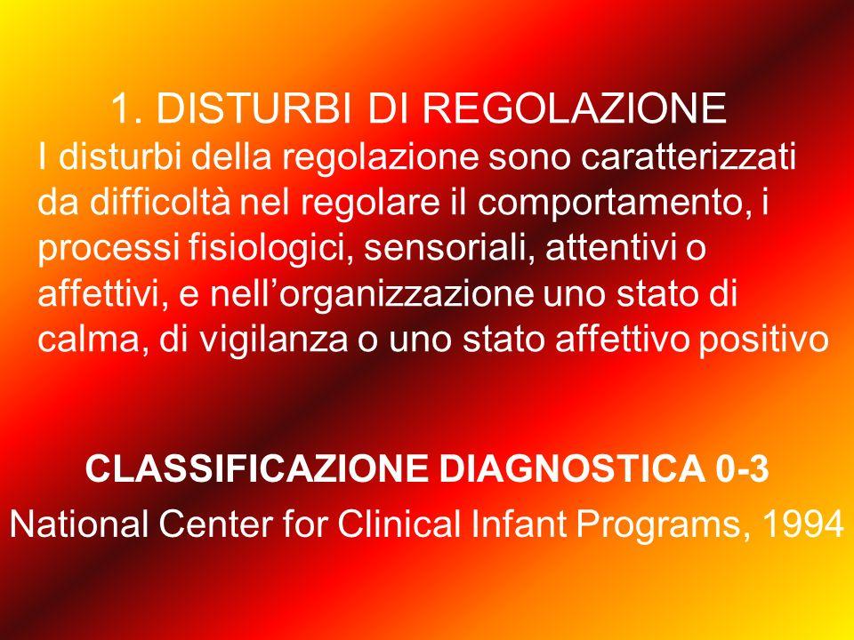 1. DISTURBI DI REGOLAZIONE I disturbi della regolazione sono caratterizzati da difficoltà nel regolare il comportamento, i processi fisiologici, senso