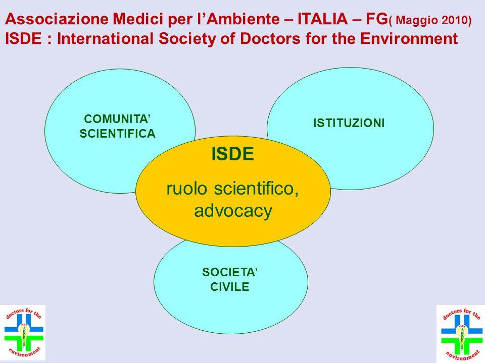 2 COMUNITA' SCIENTIFICA ISTITUZIONI ISDE ruolo scientifico, advocacy SOCIETA' CIVILE Associazione Medici per l'Ambiente – ITALIA – FG ( Maggio 2010) ISDE : International Society of Doctors for the Environment