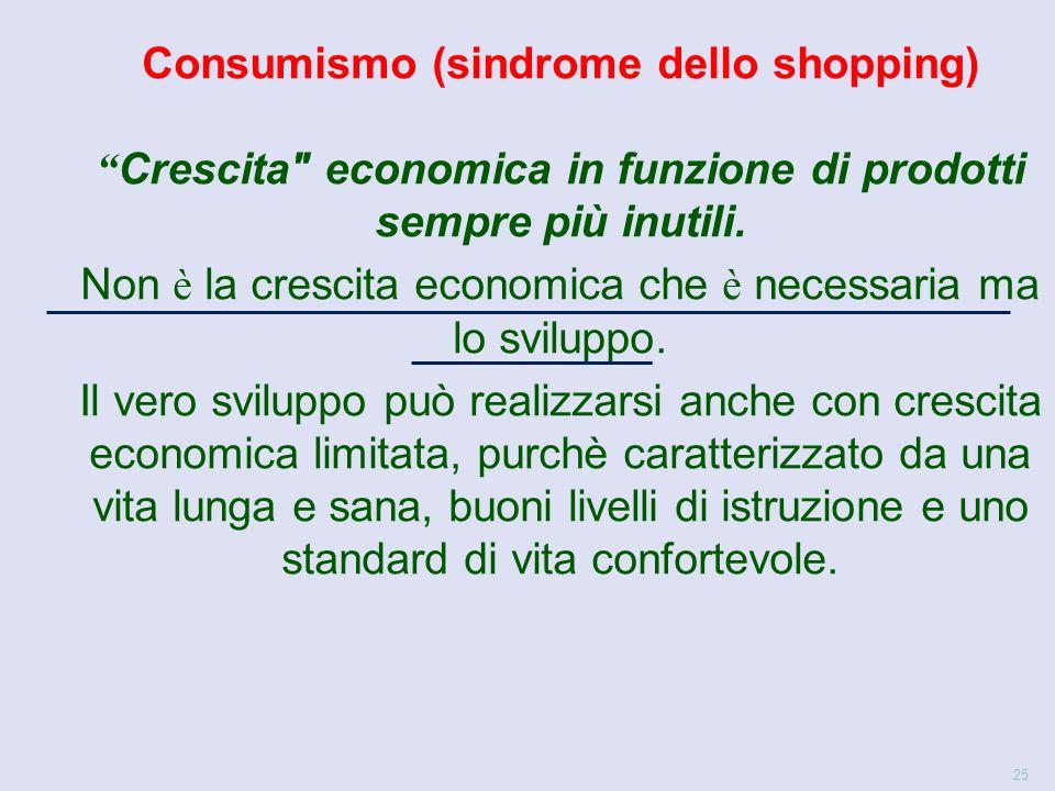 25 Consumismo (sindrome dello shopping) Crescita economica in funzione di prodotti sempre più inutili.