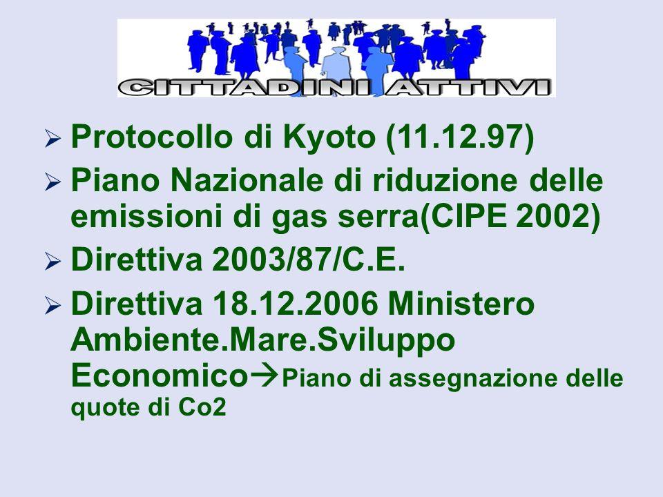  Protocollo di Kyoto (11.12.97)  Piano Nazionale di riduzione delle emissioni di gas serra(CIPE 2002)  Direttiva 2003/87/C.E.