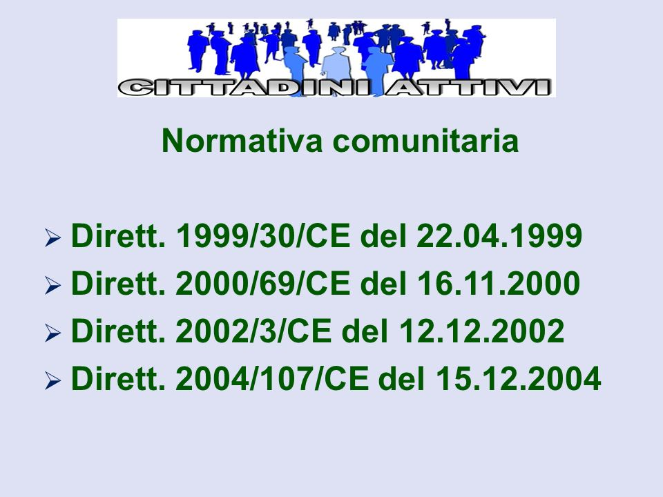 Normativa comunitaria  Dirett. 1999/30/CE del 22.04.1999  Dirett.