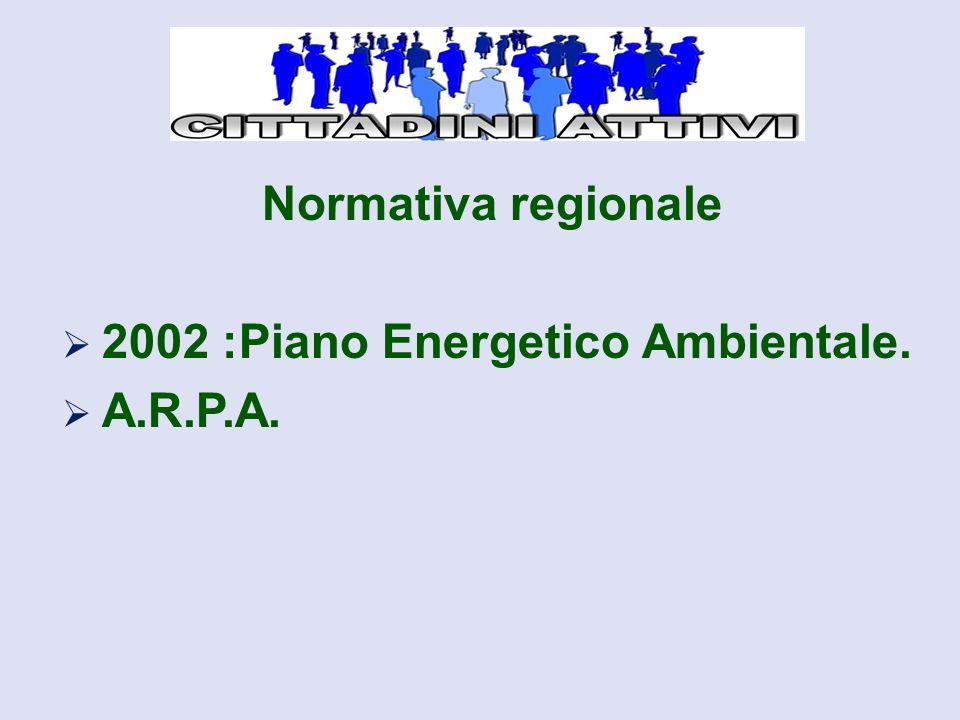 Normativa regionale  2002 :Piano Energetico Ambientale.  A.R.P.A.