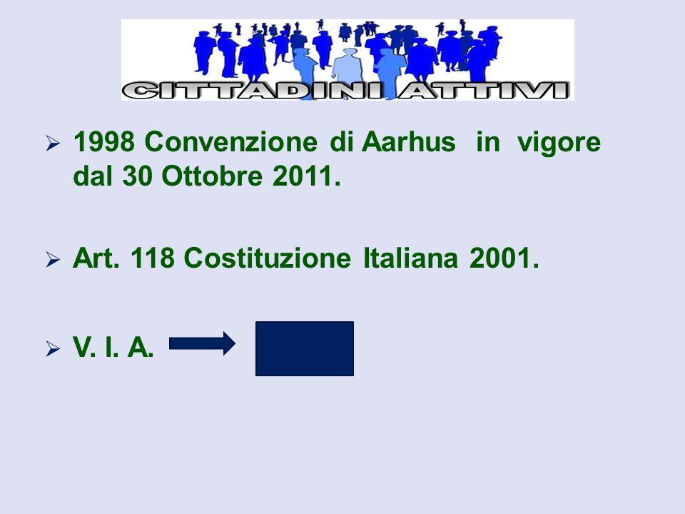  1998 Convenzione di Aarhus in vigore dal 30 Ottobre 2011.