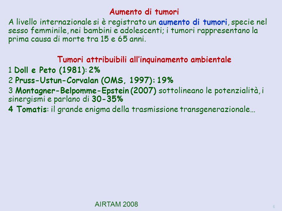 Aumento di tumori A livello internazionale si è registrato un aumento di tumori, specie nel sesso femminile, nei bambini e adolescenti; i tumori rappresentano la prima causa di morte tra 15 e 65 anni.