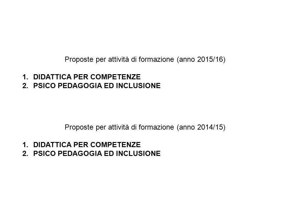 Proposte per attività di formazione (anno 2015/16) 1.DIDATTICA PER COMPETENZE 2.PSICO PEDAGOGIA ED INCLUSIONE Proposte per attività di formazione (anno 2014/15) 1.DIDATTICA PER COMPETENZE 2.PSICO PEDAGOGIA ED INCLUSIONE