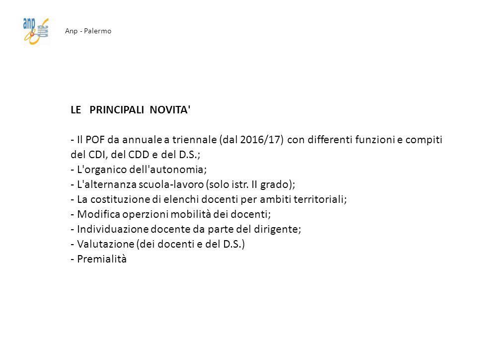 Anp - Palermo LE PRINCIPALI NOVITA' - Il POF da annuale a triennale (dal 2016/17) con differenti funzioni e compiti del CDI, del CDD e del D.S.; - L'o