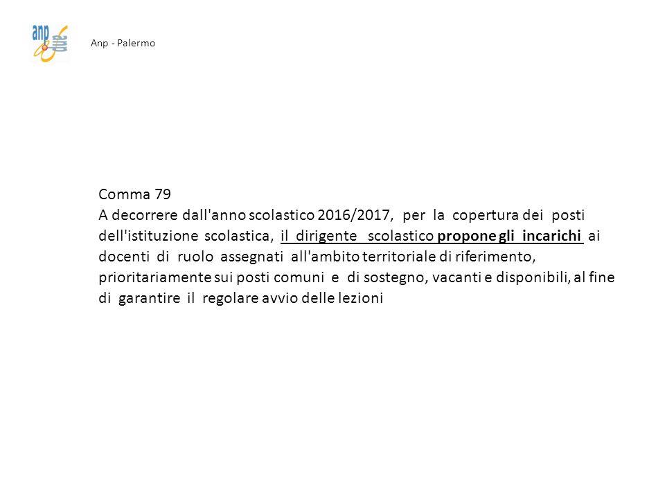 Anp - Palermo Comma 79 A decorrere dall'anno scolastico 2016/2017, per la copertura dei posti dell'istituzione scolastica, il dirigente scolastico pro
