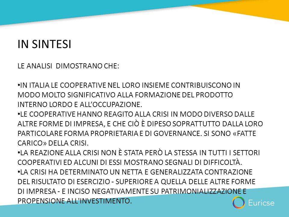 IN SINTESI LE ANALISI DIMOSTRANO CHE: IN ITALIA LE COOPERATIVE NEL LORO INSIEME CONTRIBUISCONO IN MODO MOLTO SIGNIFICATIVO ALLA FORMAZIONE DEL PRODOTT