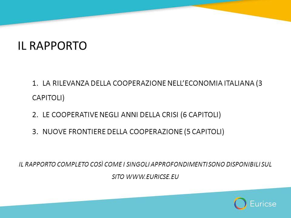 IL RAPPORTO 1.LA RILEVANZA DELLA COOPERAZIONE NELL'ECONOMIA ITALIANA (3 CAPITOLI) 2.LE COOPERATIVE NEGLI ANNI DELLA CRISI (6 CAPITOLI) 3.NUOVE FRONTIE