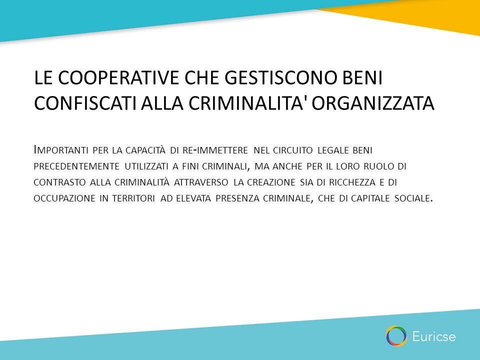 LE COOPERATIVE CHE GESTISCONO BENI CONFISCATI ALLA CRIMINALITA' ORGANIZZATA I MPORTANTI PER LA CAPACITÀ DI RE - IMMETTERE NEL CIRCUITO LEGALE BENI PRE