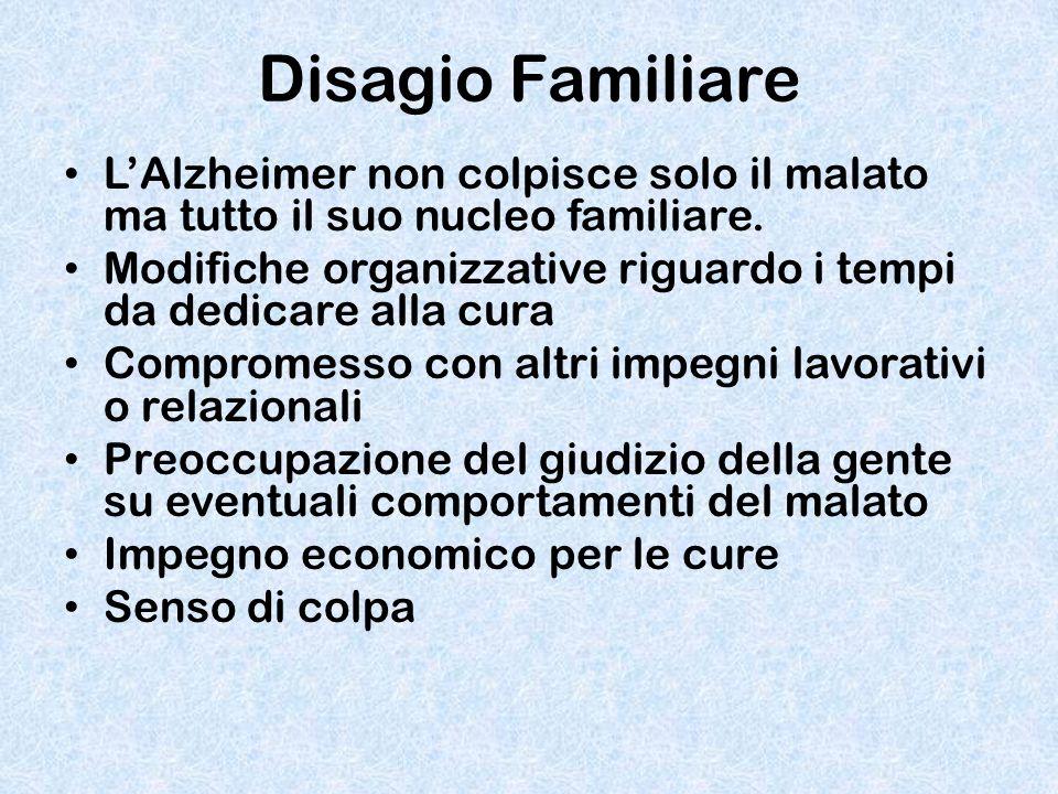 Disagio Familiare L'Alzheimer non colpisce solo il malato ma tutto il suo nucleo familiare. Modifiche organizzative riguardo i tempi da dedicare alla