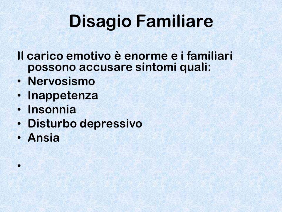 Disagio Familiare Il carico emotivo è enorme e i familiari possono accusare sintomi quali: Nervosismo Inappetenza Insonnia Disturbo depressivo Ansia