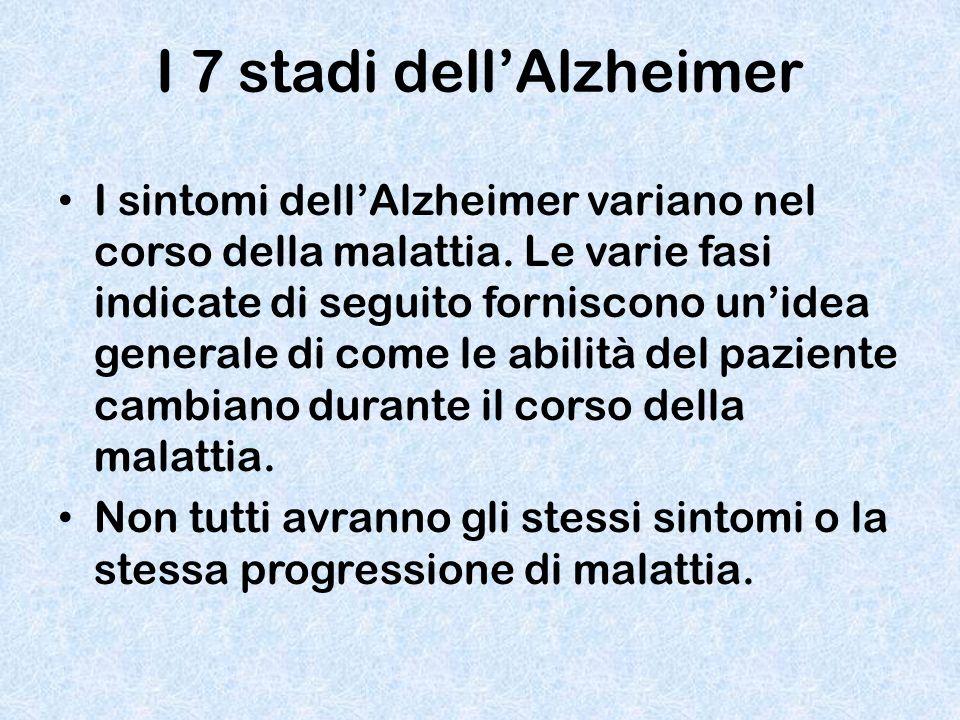 I 7 stadi dell'Alzheimer I sintomi dell'Alzheimer variano nel corso della malattia. Le varie fasi indicate di seguito forniscono un'idea generale di c