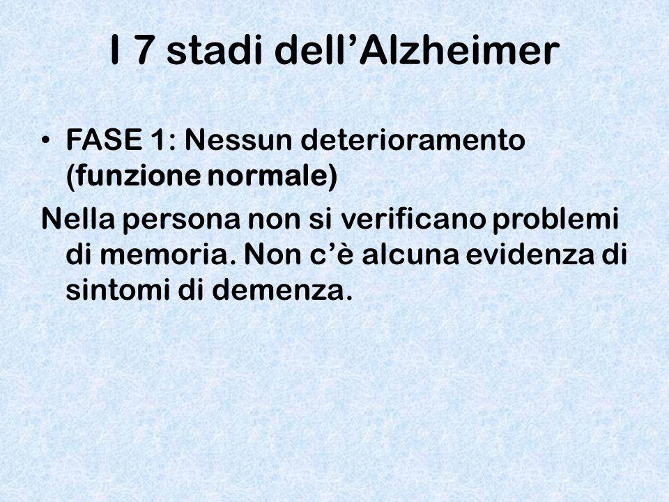 I 7 stadi dell'Alzheimer FASE 1: Nessun deterioramento (funzione normale) Nella persona non si verificano problemi di memoria. Non c'è alcuna evidenza