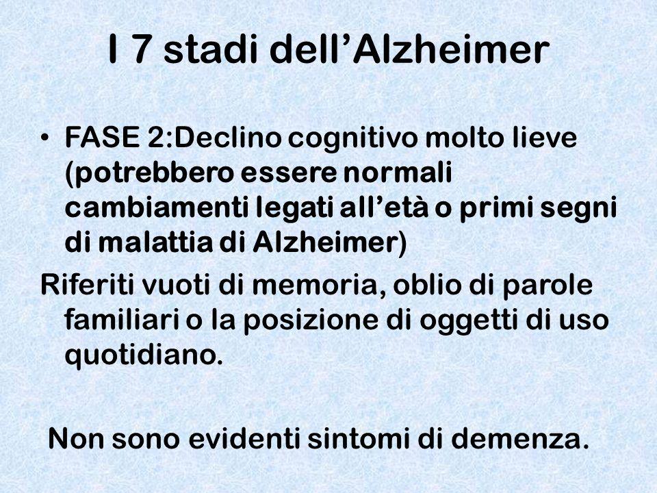 I 7 stadi dell'Alzheimer FASE 2:Declino cognitivo molto lieve (potrebbero essere normali cambiamenti legati all'età o primi segni di malattia di Alzhe