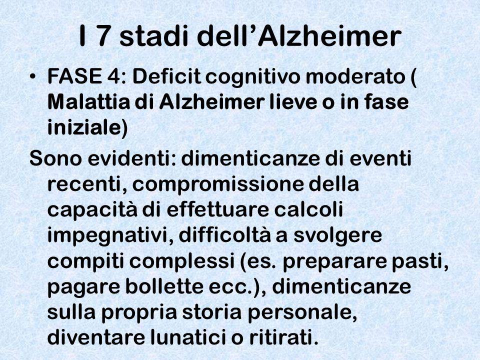 I 7 stadi dell'Alzheimer FASE 4: Deficit cognitivo moderato ( Malattia di Alzheimer lieve o in fase iniziale) Sono evidenti: dimenticanze di eventi re