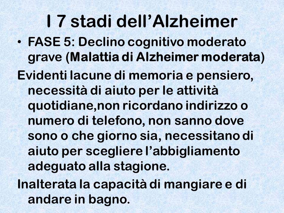 I 7 stadi dell'Alzheimer FASE 5: Declino cognitivo moderato grave (Malattia di Alzheimer moderata) Evidenti lacune di memoria e pensiero, necessità di