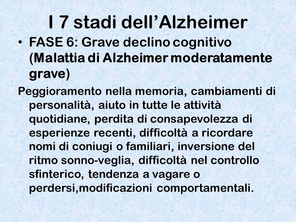I 7 stadi dell'Alzheimer FASE 6: Grave declino cognitivo (Malattia di Alzheimer moderatamente grave) Peggioramento nella memoria, cambiamenti di perso