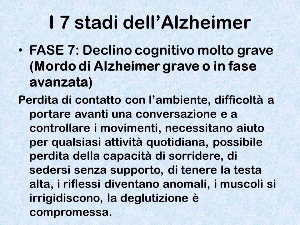 I 7 stadi dell'Alzheimer FASE 7: Declino cognitivo molto grave (Mordo di Alzheimer grave o in fase avanzata) Perdita di contatto con l'ambiente, diffi