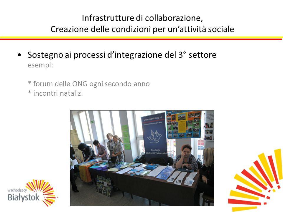 Sostegno ai processi d'integrazione del 3° settore esempi: * forum delle ONG ogni secondo anno * incontri natalizi Infrastrutture di collaborazione, Creazione delle condizioni per un'attività sociale