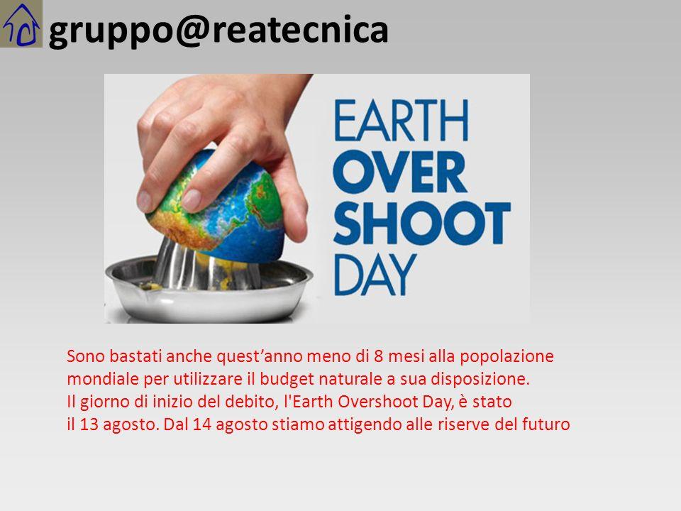 Sono bastati anche quest'anno meno di 8 mesi alla popolazione mondiale per utilizzare il budget naturale a sua disposizione.
