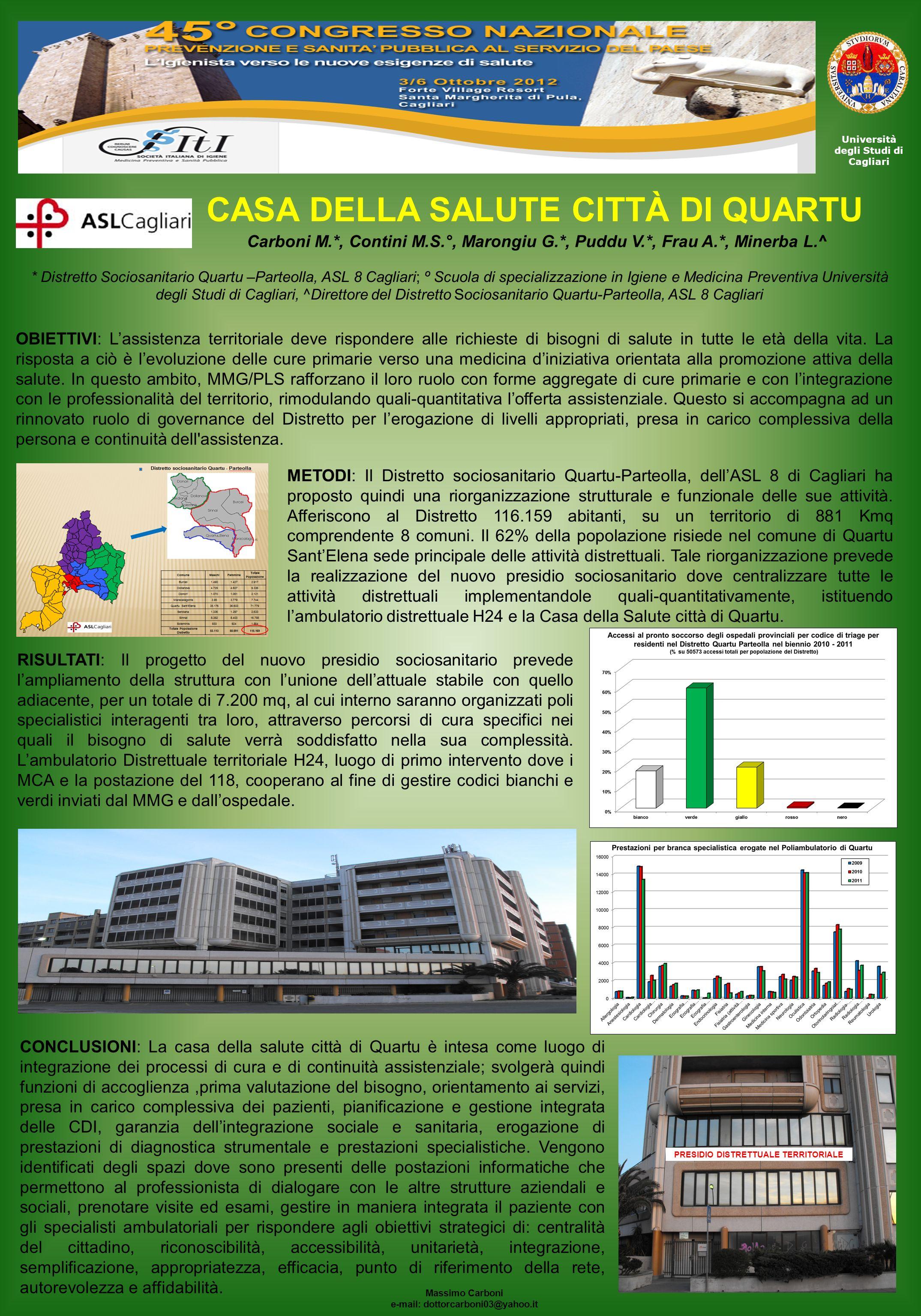 Università degli Studi di Cagliari Carboni M.*, Contini M.S.°, Marongiu G.*, Puddu V.*, Frau A.*, Minerba L.^ Massimo Carboni e-mail: dottorcarboni03@