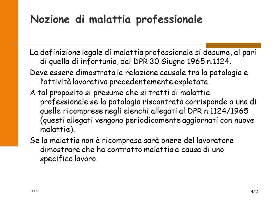 2009 4/11 Nozione di malattia professionale La definizione legale di malattia professionale si desume, al pari di quella di infortunio, dal DPR 30 Giugno 1965 n.1124.