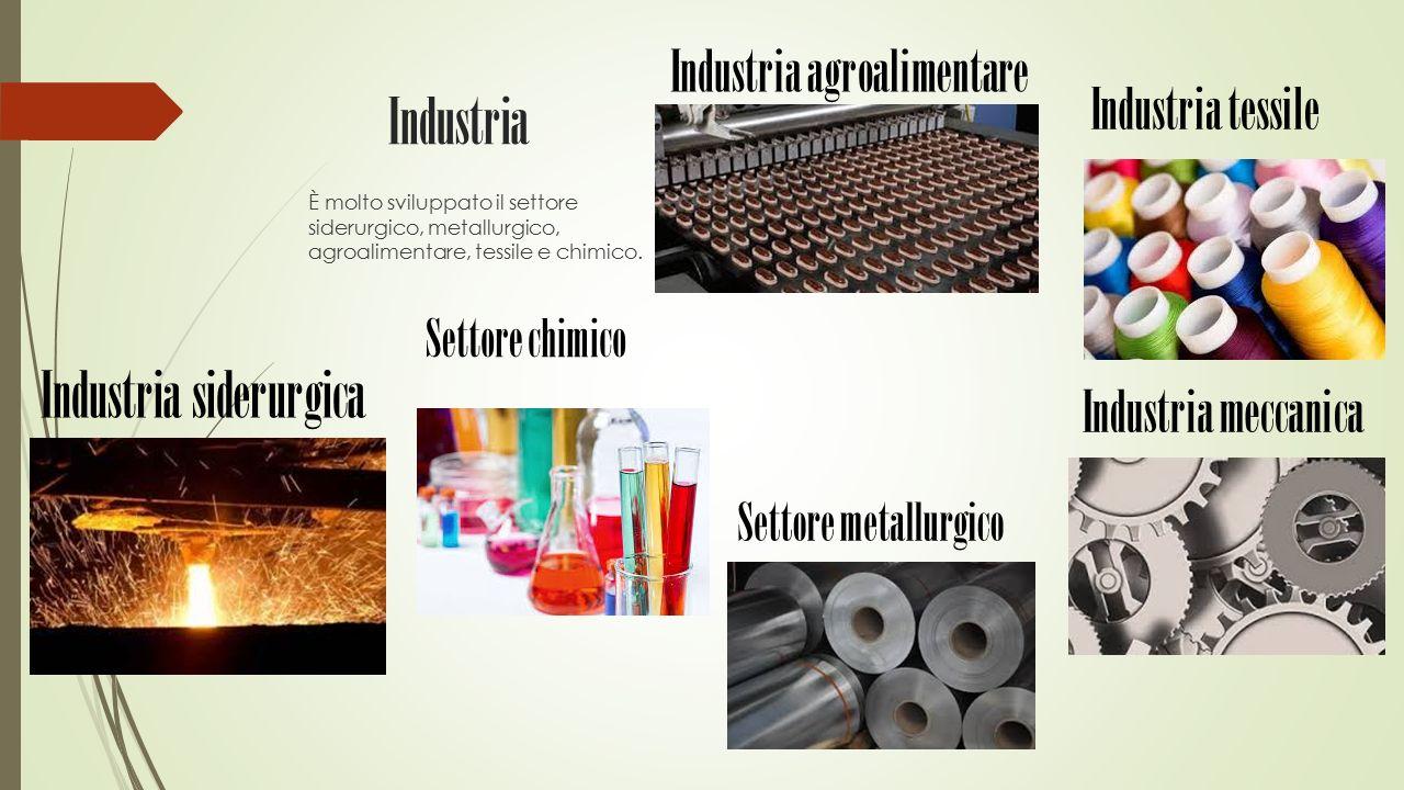 Industria È molto sviluppato il settore siderurgico, metallurgico, agroalimentare, tessile e chimico. Industria meccanica Industria tessile Industria
